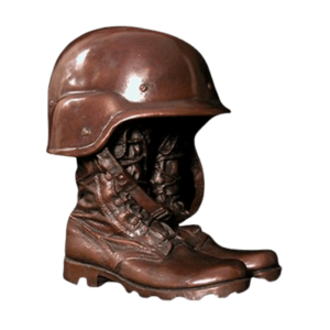 Military boot and helmet urn